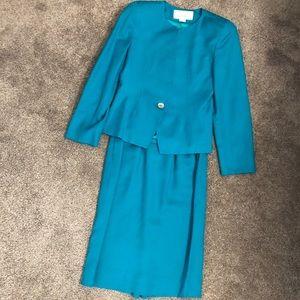 Vintage Christian Dior teal skirt suit